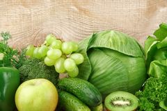 Group of green vegetables and fruits Royalty Free Stock Image