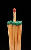 Group of green wooden matches with red match in the centre Royalty Free Stock Images