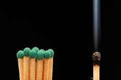 Group of green wooden matches standing with burnt smoked match. Isolated on black background Stock Image