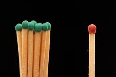 Group of green wooden matches standing with red match Royalty Free Stock Photos