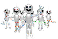 Group of greeting cartoon Robots Stock Photo