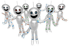 Group of greeting cartoon Robots Stock Image