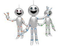 Group of greeting cartoon Robots Royalty Free Stock Image