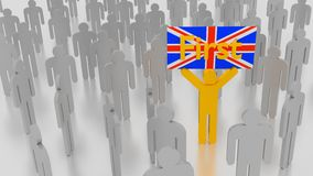 Group of grey people with one man holding british flag. Group of grey people with one man raising his arms holding up a sign with the word first on a british Stock Photo