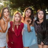 Group Of Grils At Prom Dance. Group of teenage friends at their prom dance royalty free stock image