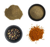 Group of Ground Black Pepper and Spice Mix Isolated Royalty Free Stock Photos