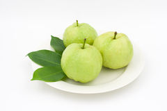 Group of Guava with leaf Stock Image
