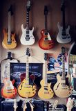 Group of guitars in exposition Stock Image
