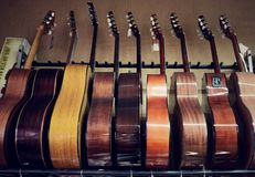 Group of guitars in exposition Royalty Free Stock Photography