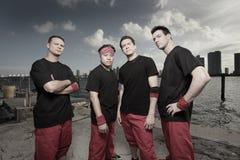 Group of guys. Wearing matching attire stock photo