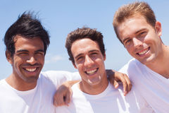 Group guys outdoors. Group of handsome guys outdoors stock photo