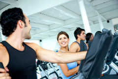 Group at a gym - cardio Stock Images