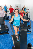 Group gym class walk treadmill running deck Royalty Free Stock Image