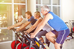 Group in gym exercising on spinning Stock Photography