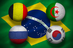 Group h footballs for world cup Royalty Free Stock Photo