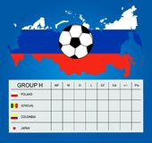 Group H for the 2018 World Cup stock illustration