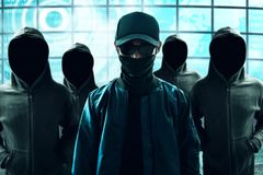 Group of hacker in computer room. Group of hackers in computer room stock image
