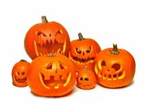 Group of Halloween Jack o Lanterns over white Royalty Free Stock Image