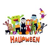 Group of Halloween Monster Characters Royalty Free Stock Images
