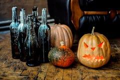 Halloween pumpkin head jack lantern. Royalty Free Stock Image