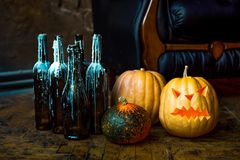 Halloween pumpkin head jack lantern. Stock Photos