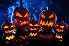 Group halloween pumpkins Royalty Free Stock Photos