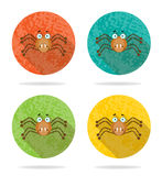Group of  halloween, round icons with brown spider. Group of four orange icons with brown spider Stock Image