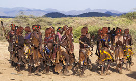 Group of Hamar women dance at bull jumping ceremony. Turmi, Omo Valley, Ethiopia. Stock Image