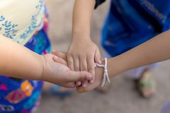 Group hand child in teamwork. stock images