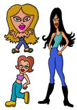A group of girls. A group of hand drawn cartoon girls Stock Images