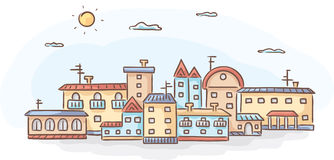 Group of hand-drawn houses Stock Images