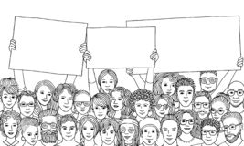 Group of people holding empty signs. Group of hand drawn men and women holding empty signs, protesting, black and white ink illustration vector illustration