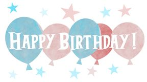 A group of hand drawn pastel colored balloons with Happy Birthday greeting royalty free stock image
