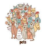 Group of hand drawn pets. Like cats, dogs, birds, hamster, bunnies, standing in a circle royalty free illustration