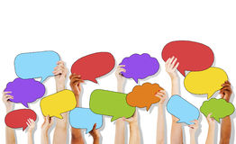 Group of Hand Holding Speech Bubble Icons Stock Images