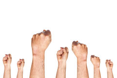 Group of hand showing fist. On white background, fist gesture, fist ready for fighting concept Stock Photography