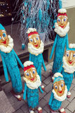 Group of handmade dwarfs as christmas decoration Royalty Free Stock Photos
