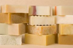 Group of handmade soap with herbal material Royalty Free Stock Photography