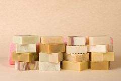 Group of handmade soap with herbal material Stock Photo