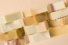 Group of handmade soap with herbal material Royalty Free Stock Image