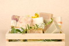 Group of handmade soap in wooden box Royalty Free Stock Photos