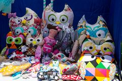 Group of handmade soft fabric toys. For sale royalty free stock image