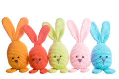 Group of handmade stuffed animal bunnys Royalty Free Stock Photography