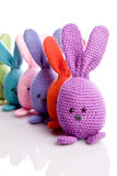 Group of handmade stuffed animal bunnys Royalty Free Stock Images