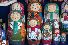 Group handpainted nesting dolls Stock Photo