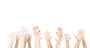 Group of Hands in the air Royalty Free Stock Image