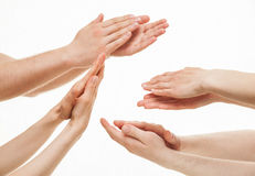 Group hands applauding stock photos