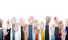 Group of Hands Arms Raised Volunteer Concept Stock Photos