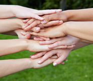 Group of hands as team motivation concept. Group of many hands as team motivation concept in nature royalty free stock photos