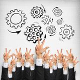 Business and teamwork concept. Group of hands of businesspeople showing gestures on wooden background stock photos
